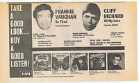 CLIFF RICHARD / FRANKIE VAUGHAN / HOLLIES press clipping 1967 (11/11/67) 30X20cm