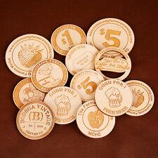 Wood Token/Wooden Nickel - Custom Engraved on 1 Side - Lot 100 pieces