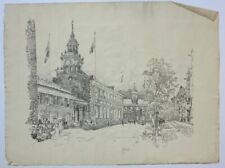 Joseph Pennell original artist signed lithograph Independence Hall Philadelphia