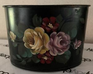 Black metal painted flowers pencil box 7x5x5
