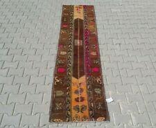 BROWN Turkish Hallway Runner 2x9ft Vintage Oushak Anatolian Handmade Wool Rug