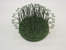 "Vintage Blue Ribbon Flower Frog Holder Hairpin Wire Cage Metal Old 3 1/4"" Base"