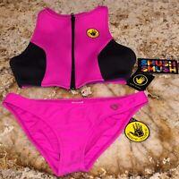 BODY GLOVE Call Me Zip Front Top Smoothies Bottom Pink Black Bikini NEW Jrs S XL