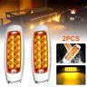 2Pcs 12V Amber Side Marker Light Clearance 12-LED Truck Trailer For Peterbilt