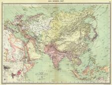 ASIA. Asia. General Map; Inset map of Population map 1907 old antique
