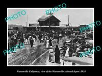 OLD LARGE HISTORIC PHOTO OF WATSONVILLE CALIFORNIA, THE RAILROAD DEPOT c1910