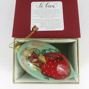 Pier 1 Li Bien Angel Hand Painted Tear Drop Glass Christmas Ornament 2018