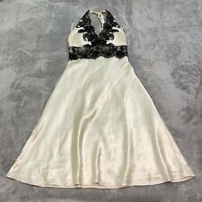 White House Black Market Ivory Silky Halter Dress with Black Lace Accent Size 8