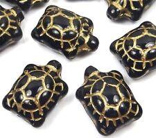 8 Czech Glass Turtles Beads  19x14mm -Jet - Gold Inlay