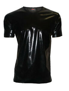Mens Black Metallic Wet Look PVC Shiny T-Shirt Top Club Wear V Neck Fancy Dress