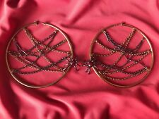 Betsey Johnson Vintage LARGE School Girl Crystal Red Spider Chain Hoop Earrings