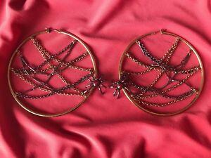 Betsey Johnson Vintage School Girl Crystal Red Spider Spiderweb Hoop Earrings