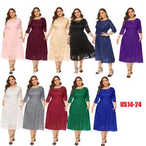 Women Maxi Cocktail Party Wedding Evening Dress 3/4 Sleeve Lace Dress Plus Size
