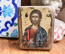 More details for vintage religious icon decoupage on wood wall art  ref b