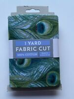 Animal Fabric  Green Blue Peacock Feather - One Yard Pre Cut Fabric 100% Cotton