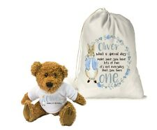 Personalised Teddy Bear & Gift Bag Boys 1st Birthday Keepsake.. Peter Rabbit