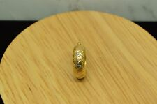 A Tri Color Design 18mm -Just One 14K Yellow Gold Round Hoop Earring W/
