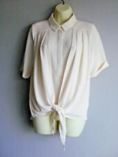 Cream Textured Georgette Tie Front Shirt Style Blouse Size 14 NEW