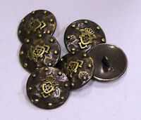 8pc 17mm Gold Studded Coat Arms Bronze Shield Metal Military Blazer Button 2144