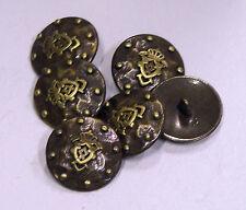 8pc 17mm oro tachonado Abrigo Brazos De Bronce Escudo Metal Militar Blazer botón 2144