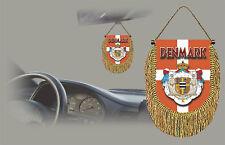 DENMARK REAR VIEW MIRROR WORLD FLAG CAR BANNER PENNANT