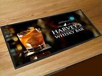 Personalised Welcome Whisky Glass Spirits bar runner mat