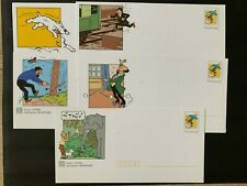 Tintin, Hergé 5 Enveloppes PAP + carte neuf. 5 photos