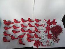 LOT 23 CARDINAL SNOWFLAKE CHRISTMAS ORNAMENTS DECORATIONS