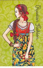Russian Fashion #1 Ethnic folk girl by Sakovich Russian modern postcard
