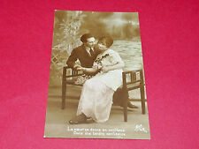 CPA CARTE POSTALE 1916 COUPLE AMOUR COEUR POILU N°615/4