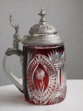 rare ruby red crystal beer mug pitcher beer hump / jug / pot for collectors