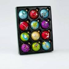 "Kurt Adler Christmas Ornament 12 Days Of Christmas Multi Color Glass Balls 2.5"""