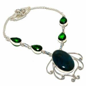 "Blood Stone  Tsavorite Gemstone 925 Sterling Silver Jewelry  N-17 Necklace 18"""