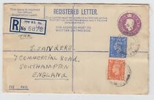 KGVI 6d Registered Letter Uprated Fayid Egypt FPO 168 - 1955 Military Mail Cover