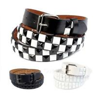 2-Row Metal Pyramid Studded Leather Belt Unisex Punk Rock Goth Emo Biker Skater