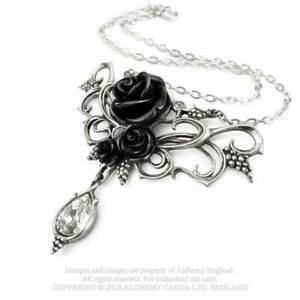 Jewelry/Necklace/Pendant - Pewter - Gothic/Mystic - Bacchanal (Black) Rose