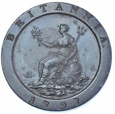 More details for 1797 cartwheel twopence british coin from george iii ef