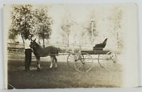 Rppc Man Posing with Pony and Carriage Real Photo c1907 Postcard O10