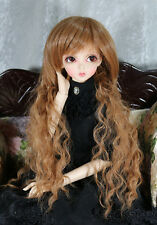 "1/3 8-9"" BJD DOLL WIG SD BROWN WAVY CURLY BANGS LUTS FAIRYLAND DOLLFIE JR-50 USA"