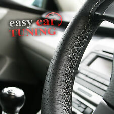 FOR JAGUAR X-TYPE 01-09 BLACK PERFORATED REAL LEATHER STEERING WHEEL COVER GREY