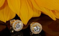 2.01ct Round Cut Beautiful Solitaire Diamond Stud Earrings Solid 14k Yellow Gold
