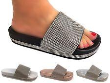 womens ladies diamante slider summer flat mid heel comfy flip flop sandal shoes