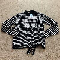 Ann Taylor Loft Womens Sweater Striped Mock Neck Super Soft Petite Small New Nwt
