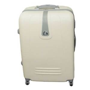 Set di 3 valigie beige con struttura rigida trolley valigie bagaglio a mano