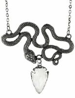 Restyle Entwine Snakes Serpents Quartz Gothic Punk Occult Witchy Silver Necklace
