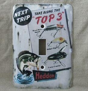 Heddon Lure - Metal Light Switch Cover - New - Rustic Old Tin Sign Look - Unique