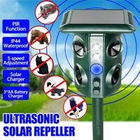 Solar Ultrasonic Animal Repellent Repeller LED PIR IP44 Motion Sensor Bird Snake