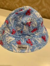 Flap Happy Baby Boy Size Large Hat Blue Boats & Lobsters