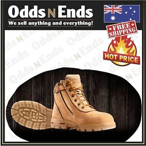 UCWZ REDBACK L/Z COBAR SOFT TOE WHEAT NUBUCK ZIP BOOTS - AUSTRALIAN MADE