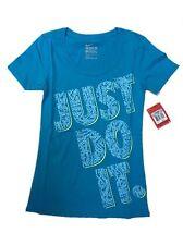 NWT Nike Women's Just Do It JDI Speckle S/S Boyfriend Tee, Teal Blue 644543-407